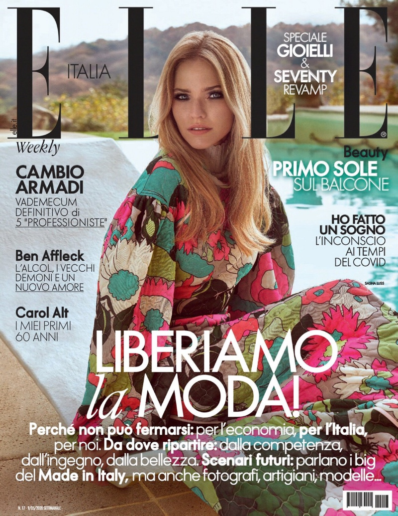 Sasha Luss Embraces Colorful Prints for ELLE Italy