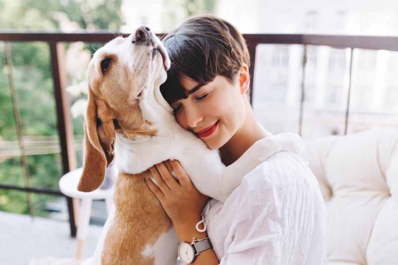 Smiling Brunette Woman Holding Dog