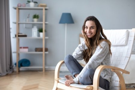 Smiling Woman Casual Home Chair