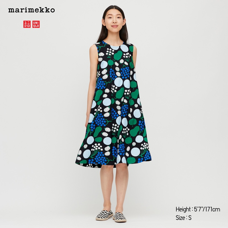 Uniqlo x Marimekko Cotton A-Line Sleeveless Dress in Black $49.90
