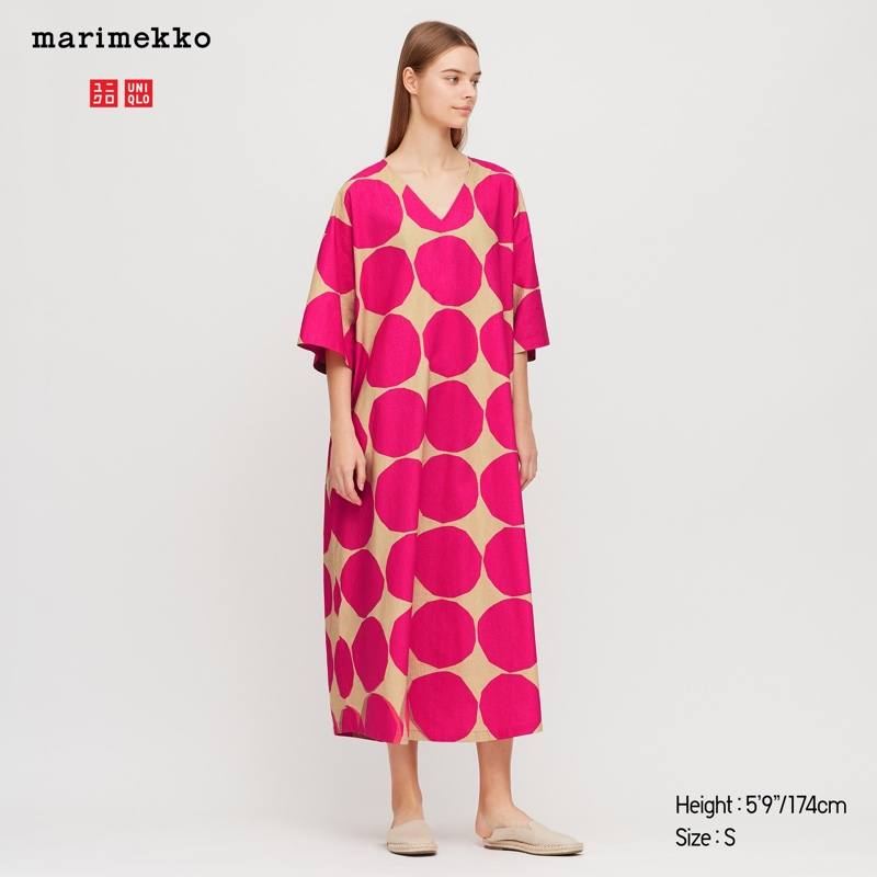 Uniqlo x Marimekko Linen Blended V-Neck Dress in Pink $49.90