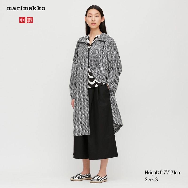 Uniqlo x Marimekko Pocketable Long Parka in Black $79.90