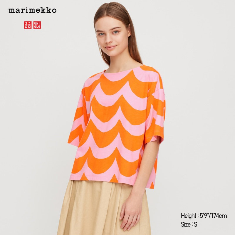 Uniqlo x Marimekko Short Sleeve T-Shirt in Orange $19.90