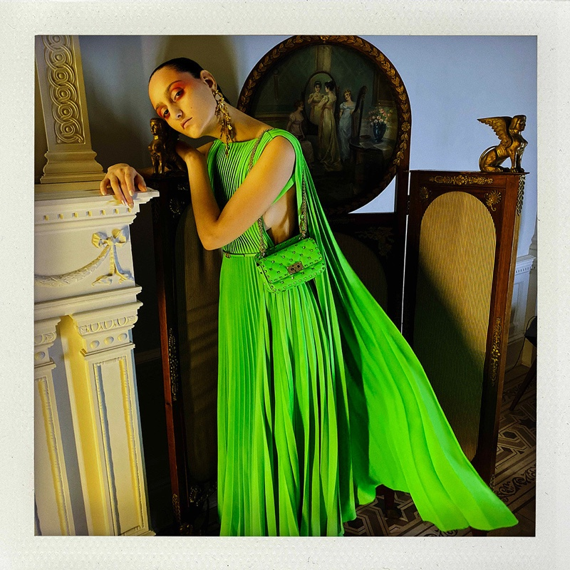 Model Jess Maybury poses in Valentino Fluo spring-summer 2020 campaign