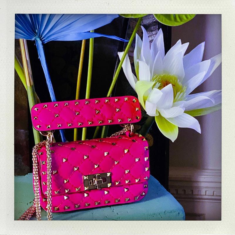 Valentino highlights Fluo Rockstud Spike handbag