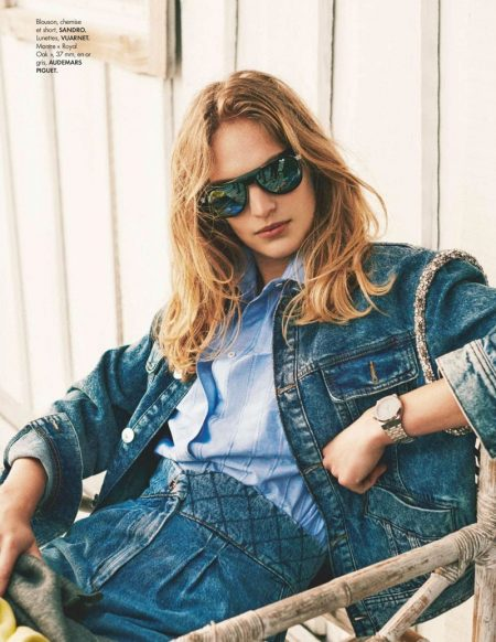 Vanessa Axente Poses in Cool Denim Looks for ELLE France