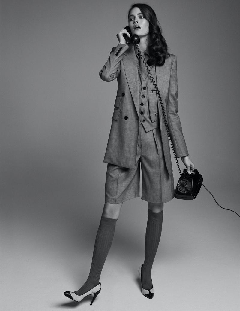 Vanessa Moody Models Office-Ready Looks for ELLE Italy
