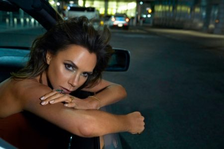 Ready for her closeup, Victoria Beckham poses in a car. Photo: An Le