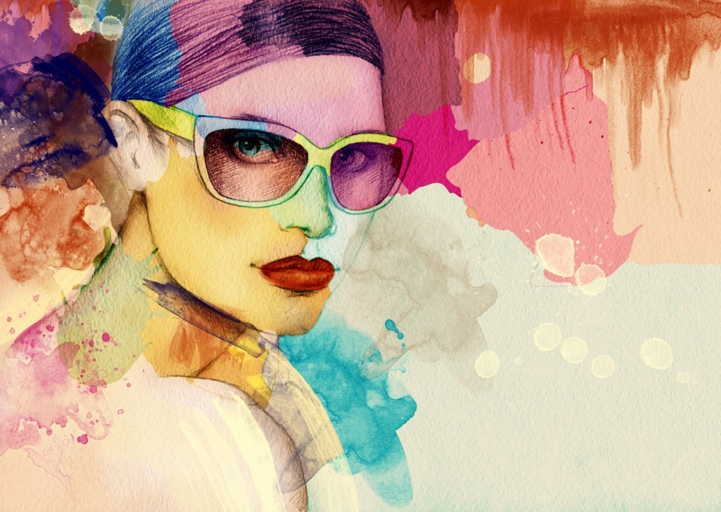 Watercolor Model Fashion Sunglasses Illustration