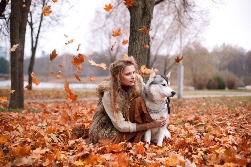 Woman Dog Outside Fall Leaves Fashion