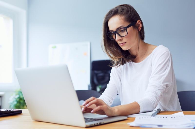 Woman Eyeglasses Laptop Work Study