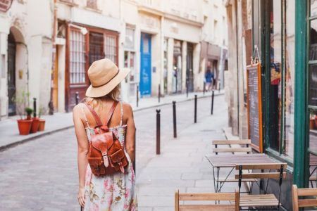 Woman Traveling Back Floral Print Dress Straw Hat Backpack