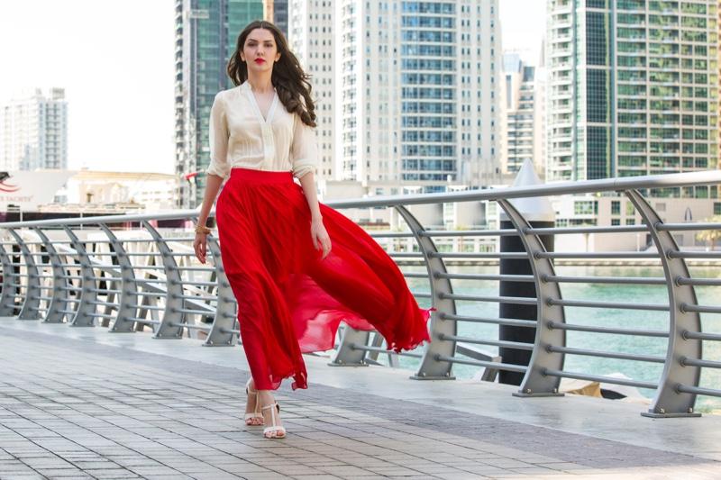 Woman White Shirt Long Red Skirt Outside City