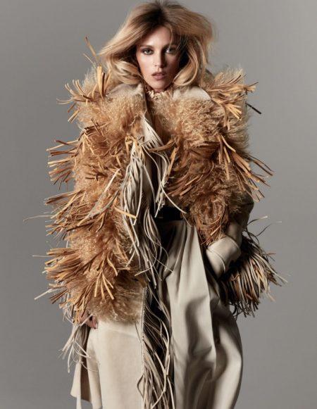 Anja Rubik Models Contrasting Styles for Vogue Paris