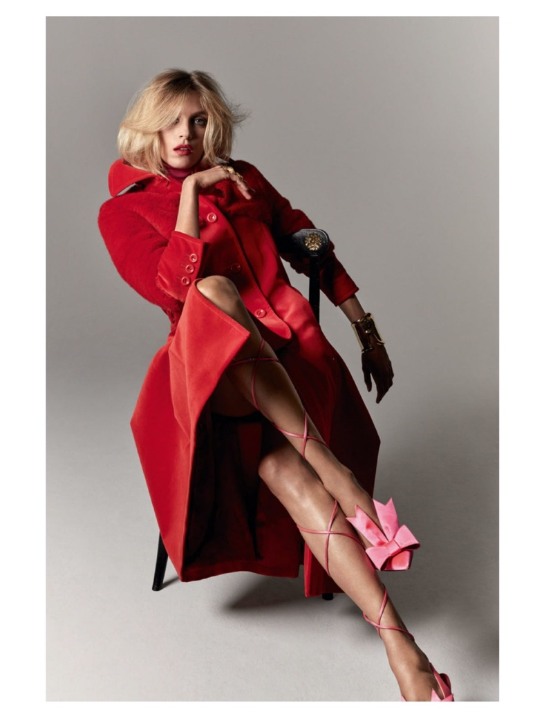Anja Rubik Models Contrasting Styles for Vogue Paris