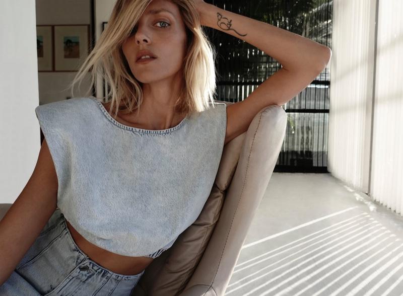 Zara Shoulder Pad Denim Top.