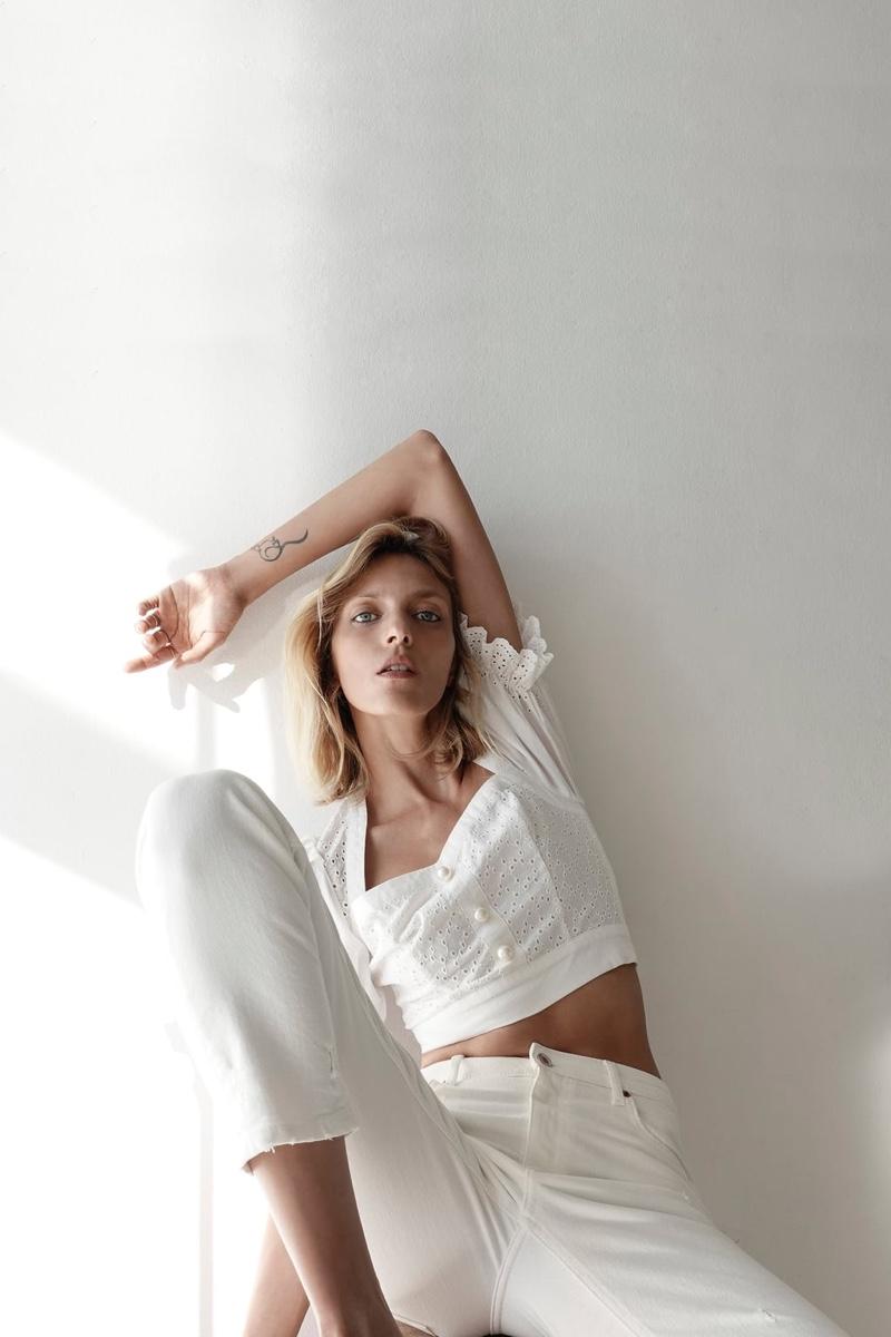 Zara Eyelet Top and Hi-Rise Slim Jeans.