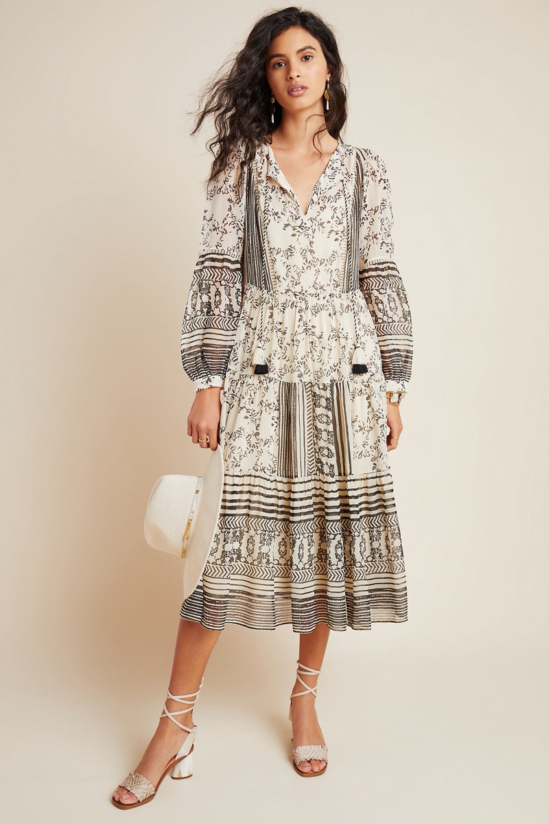 Anthropologie Talulah Tiered Midi Dress in Neutral Motif $178