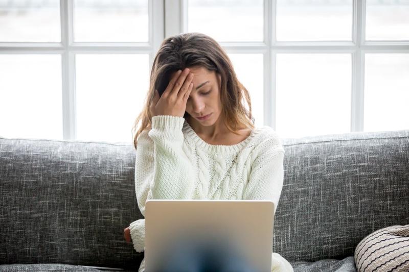 Anxious Woman Laptop Sweater Worried