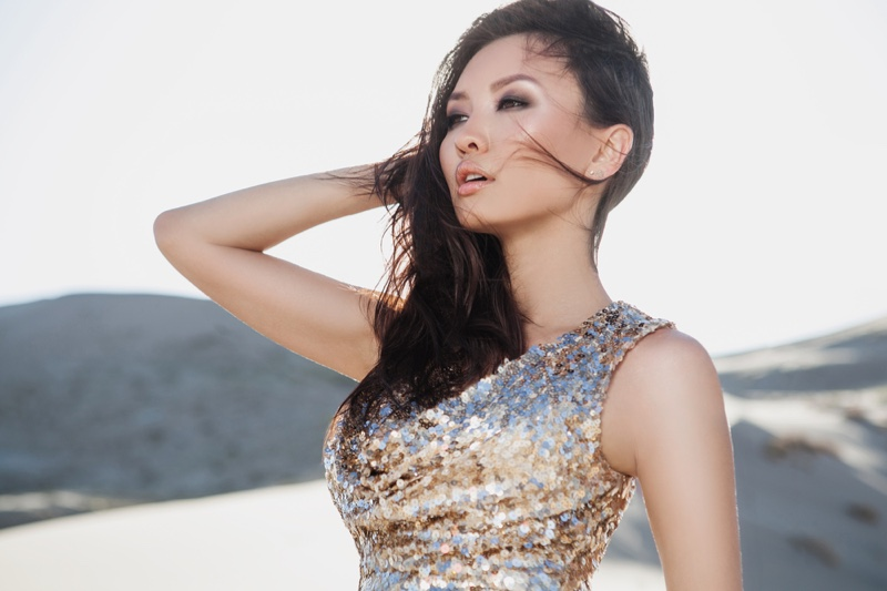 Asian Model Glam Sequin Look