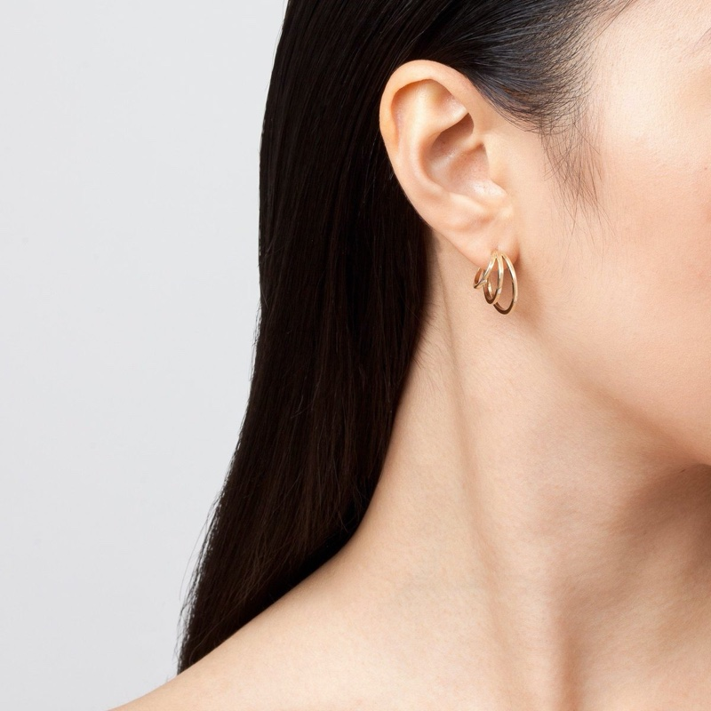 Aurate Deco Triple Gold Hoop Earrings
