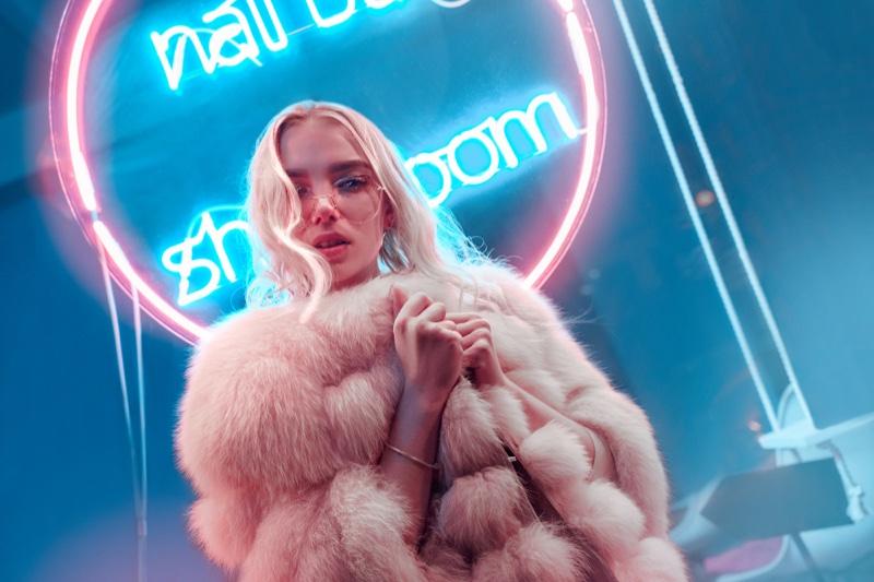 Blonde Faux Fur Jacket Neon Sign
