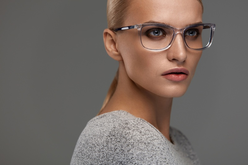 Blonde Model Wearing Rectangle Eyewear Glasses