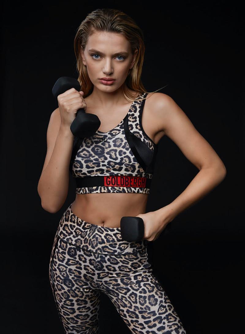 Model Bregje Heinen sports animal print in Goldbergh Activewear spring-summer 2020 campaign.