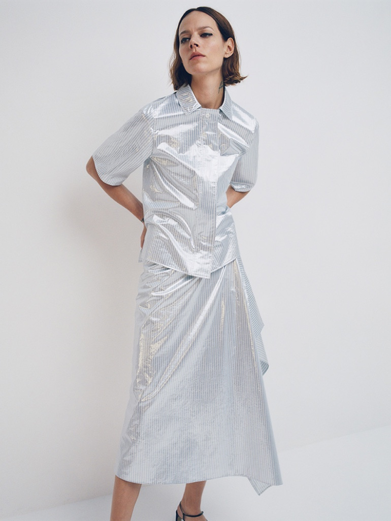 Shining in silver, Freja Beha Erichsen fronts COS spring-summer 2020 campaign.