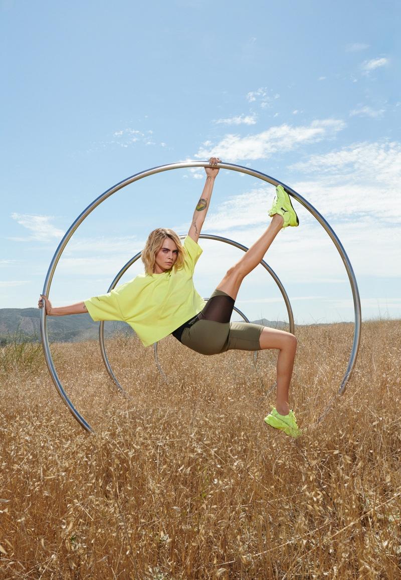 PUMA taps Cara Delevingne for Neon Rise sneaker campaign.