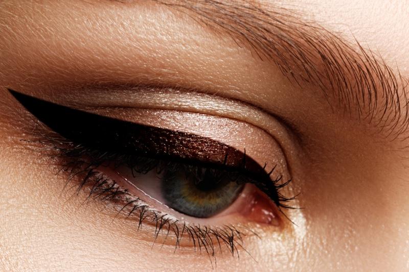 Closeup Eyeliner Winged Look Metallic Eyeshadow