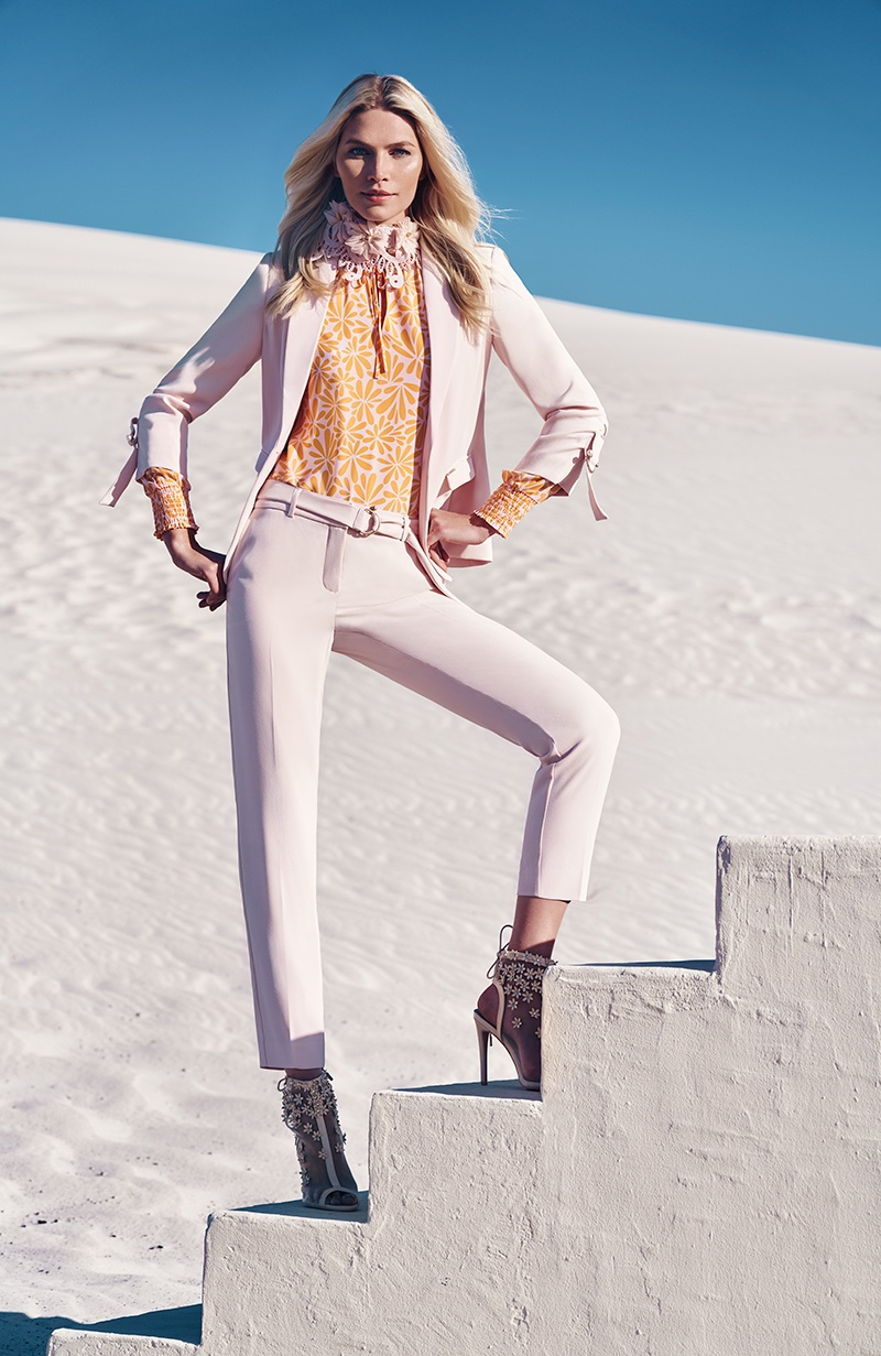 Suiting up, Aline Weber fronts Comma spring-summer 2020 campaign.