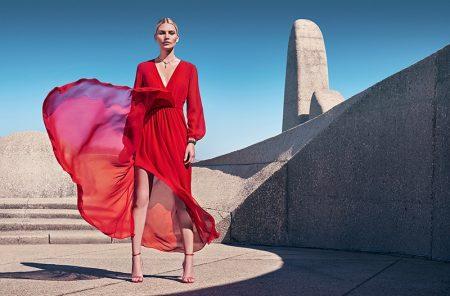 Model Aline Weber wears red dress in Comma spring-summer 2020 campaign.