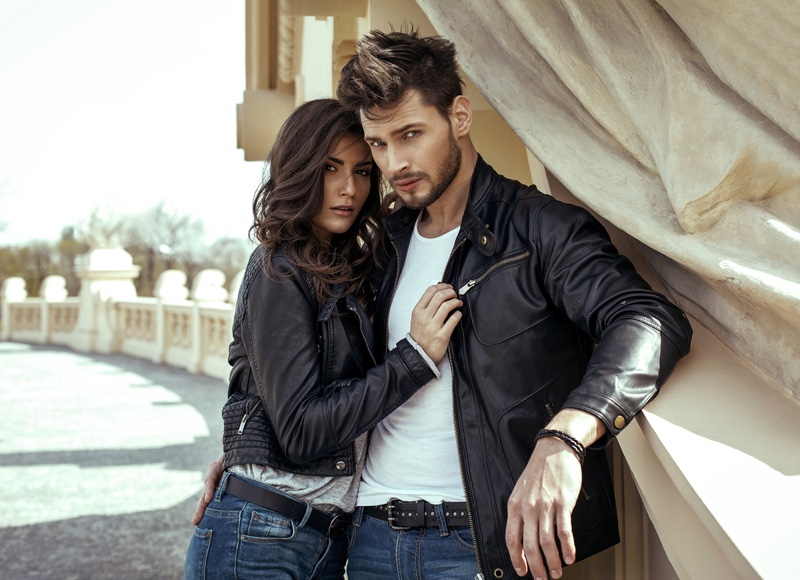 Couple Wearing Leather Jackets T-Shirts Denim
