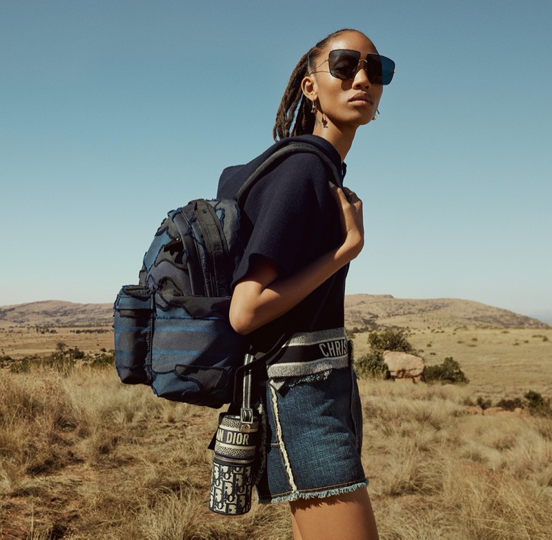 Model Adesuwa Aighewi appears in Dior DiorTravel luggage campaign.