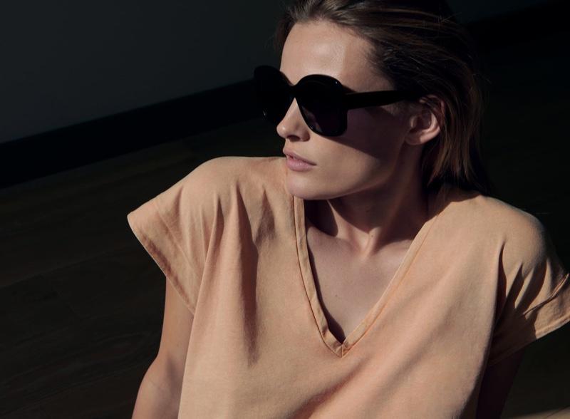 Edita Vilkeviciute chills in Zara's spring-summer 2020 collection.