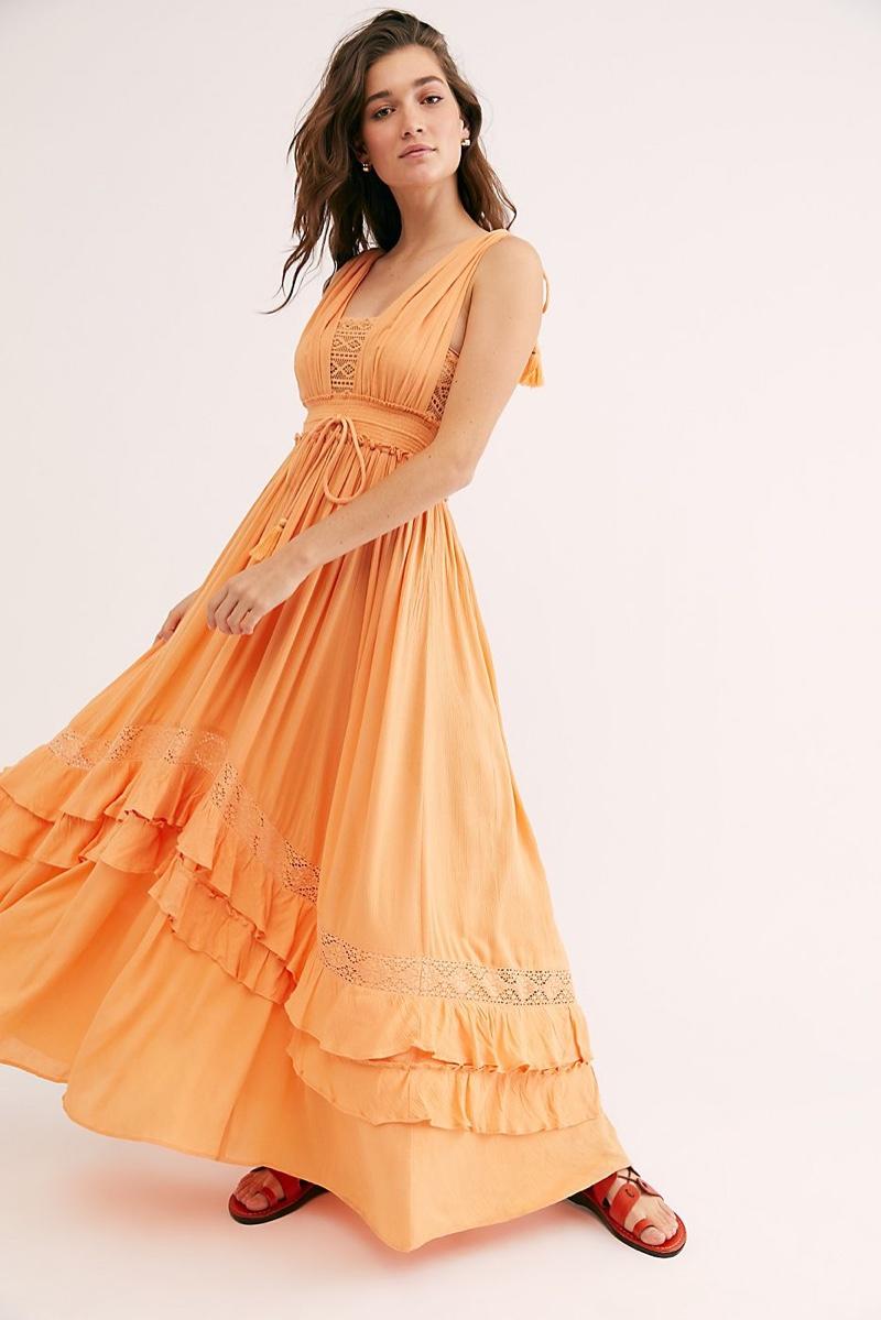 Endless Summer Santa Maria Maxi Dress in Peach Pit $128
