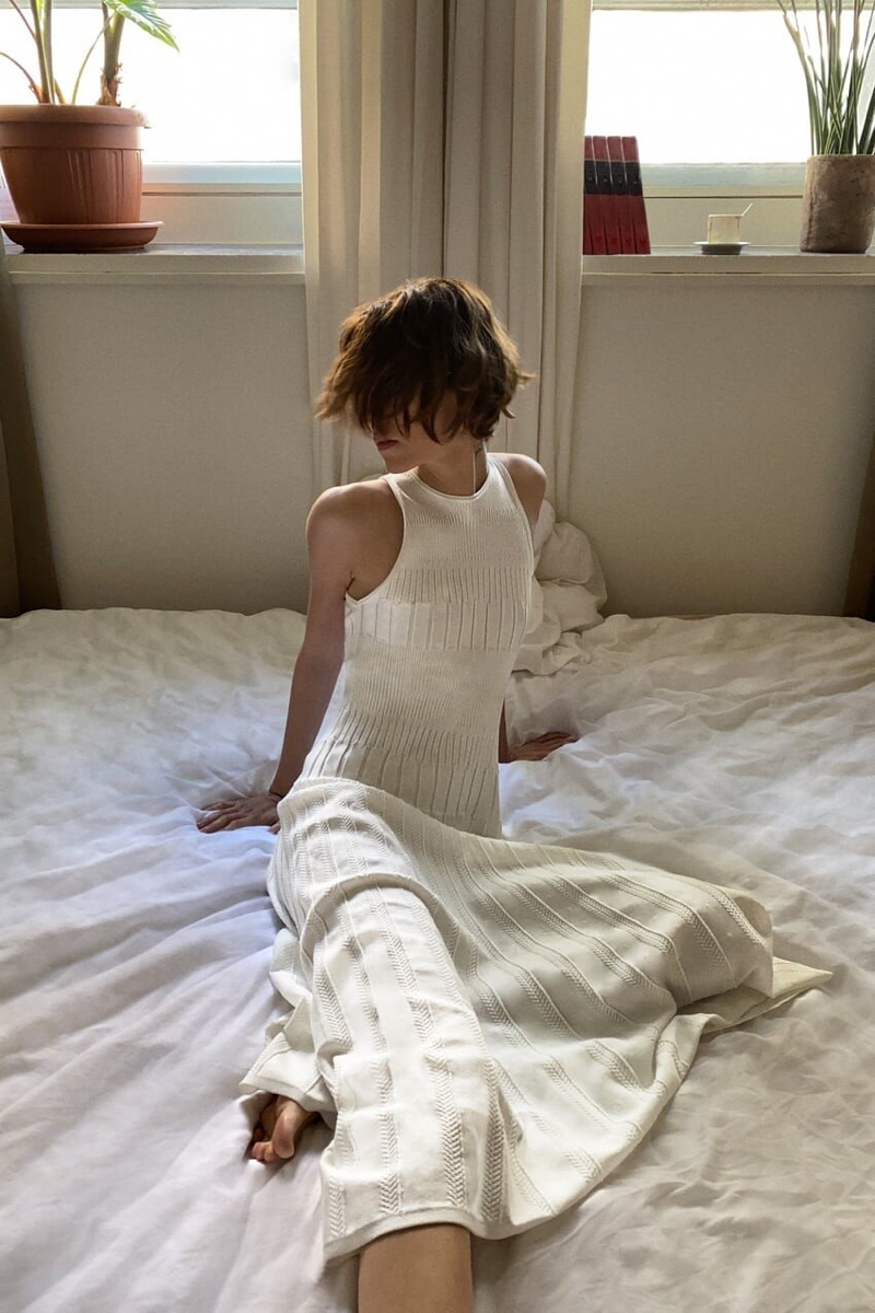 Zara Knit Bodysuit and Pleated Skirt.