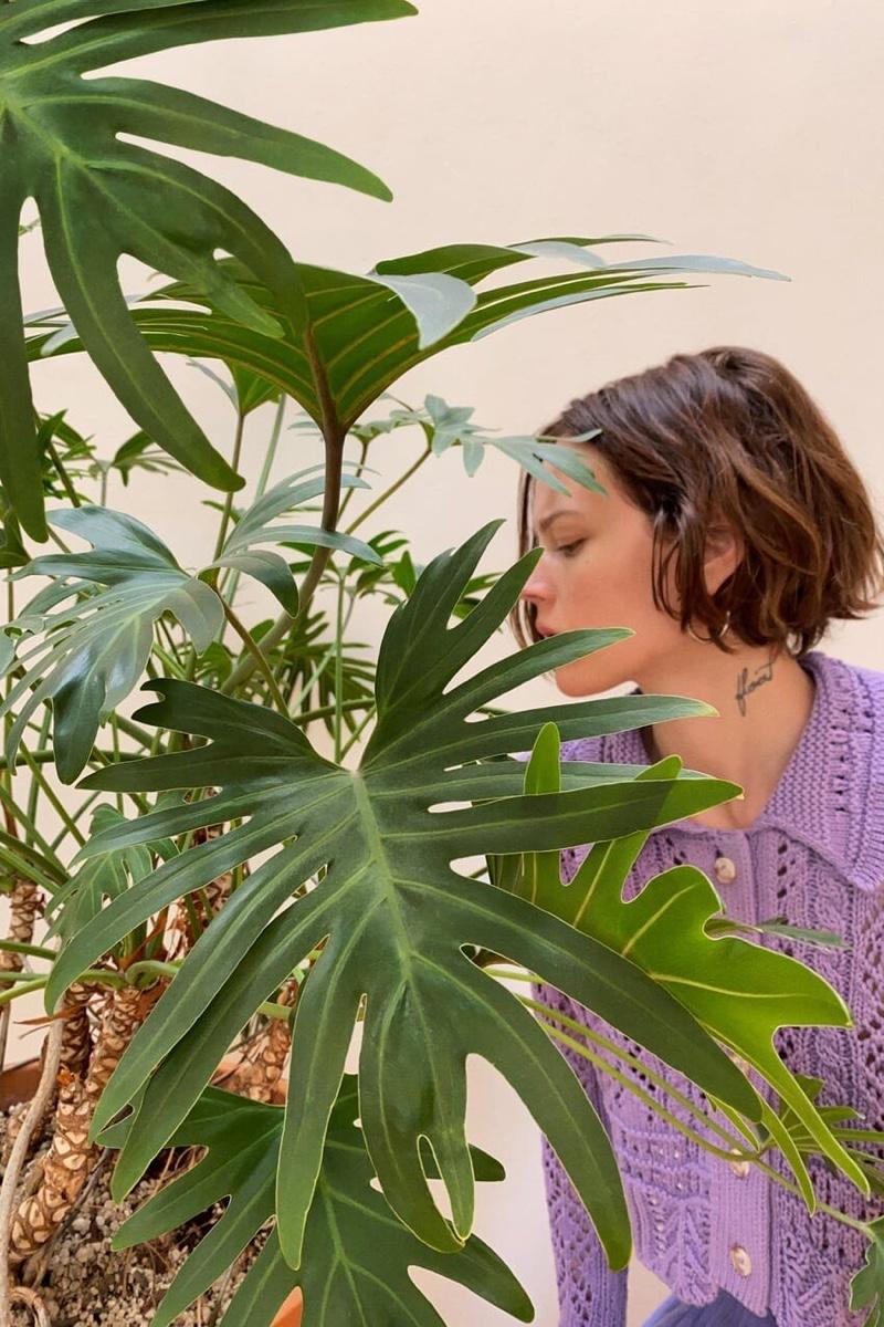 Freja Beha Erichsen poses with plants for Zara photoshoot.