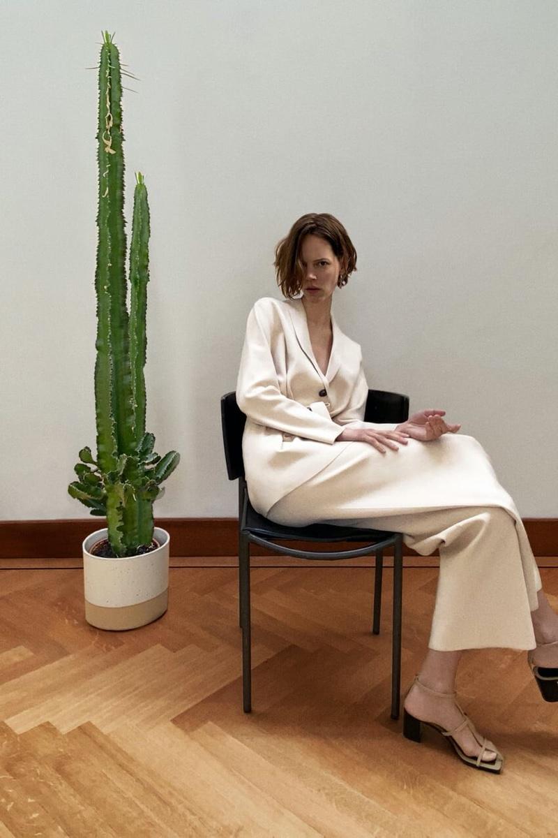 Zara Blazer and Straight Leg Knit Pants.