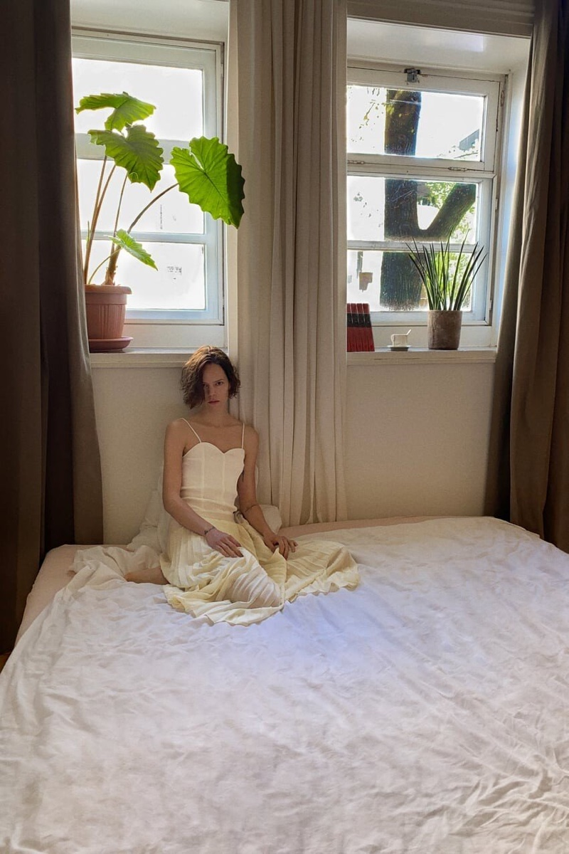 Posing in bed, Freja Beha Erichsen models Zara's spring-summer 2020 collection.