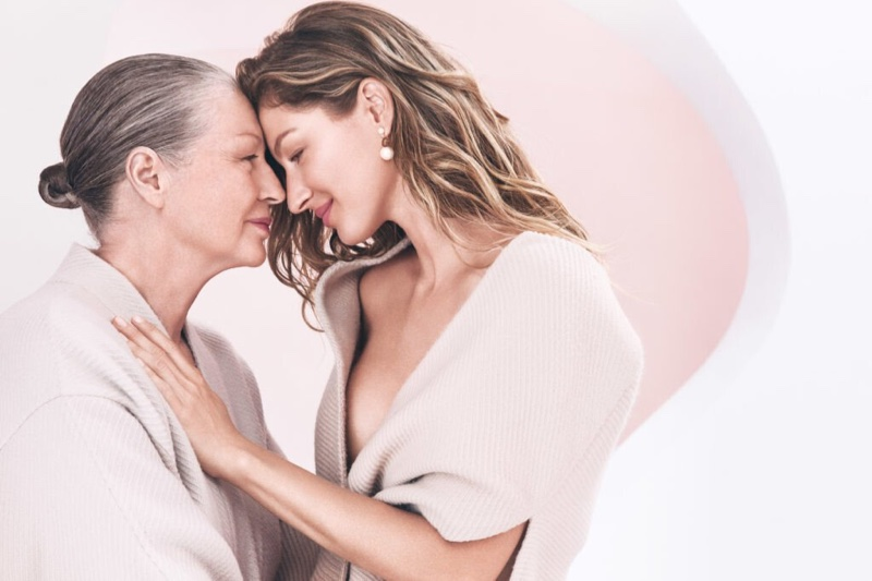Supermodel Gisele Bundchen and mother Vania pose for Dior Capture Totale campaign.