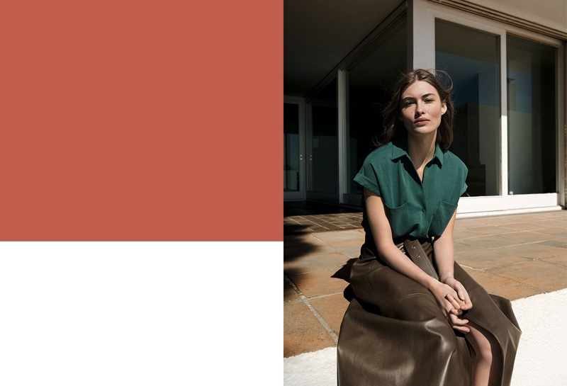 Grace Elizabeth wears Massimo Dutti short sleeve shirt with pockets and Limited Edition leather skirt.