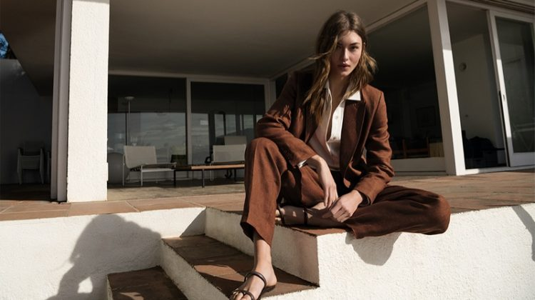 Suiting up, Grace Elizabeth poses in Massimo Dutti Waiting for You editorial.