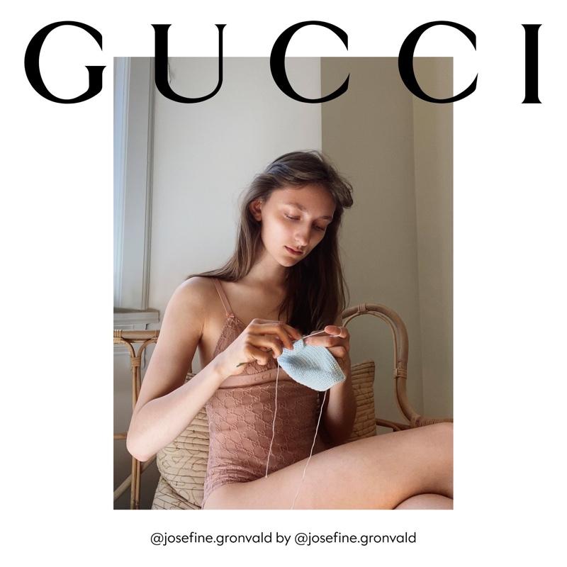 Josefine Gronvald knits in Gucci The Ritual fall 2020 campaign.