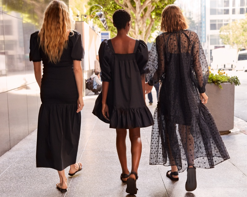 Black dresses stand out in H&M Conscious Summer 2020 campaign.