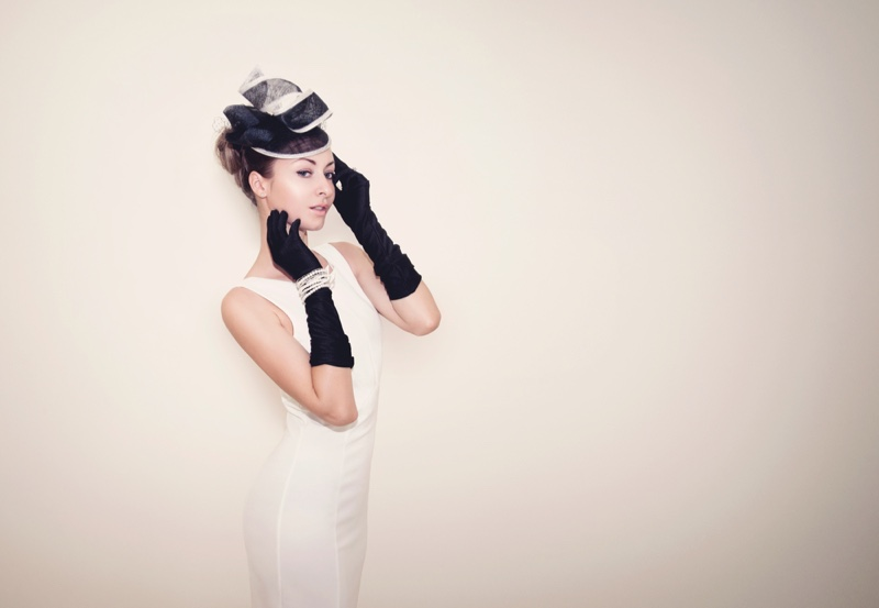 Horse Race Derby White Dress Hat Gloves Style