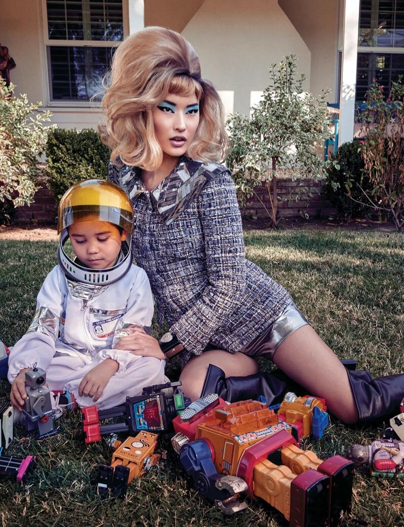 Hyun Joo Hwang Looks Suburban Chic in Harper's Bazaar Singapore