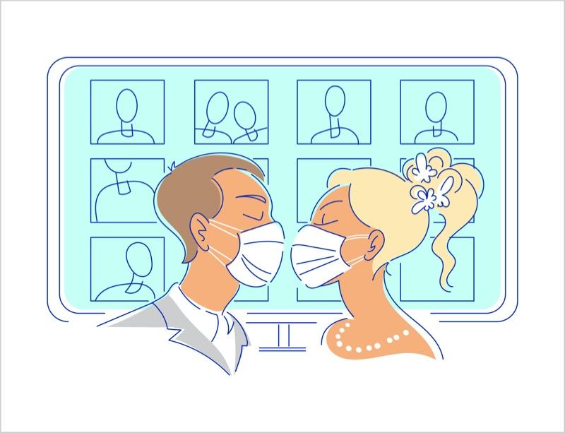 Illustration Wedding Covid Face Masks