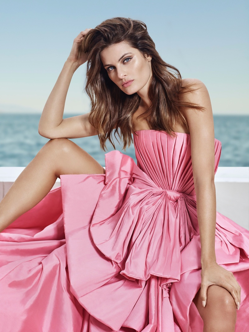 Looking pretty in pink, Isabeli Fontana poses for Ali Younes Couture.